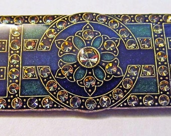 Art Deco brooch green black gold designed by designer Catherine Popesco of France