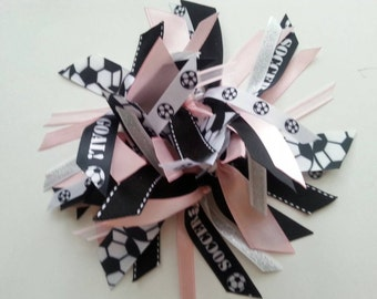 Soccer Ribbon Ponytail Streamer in  Light Pink, Black, and White