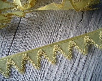 Antique Organza Ribbon Trim with Silk or Rayon Embroidery (Ref: A-4543/1 Box 1)