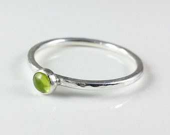 4mm Peridot Sterling Silver Ring, Minimalist Ring, Stacking Ring, August Birthstone
