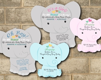 Elephant Baby Shower Invitation Elephant Shower Invitations Baby Boy Elephant Invitations Baby Girl Elephant Invitations Pink Blue Qty of 20