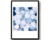 Blue bubbles white blue acrylic painting  giclee print blue white