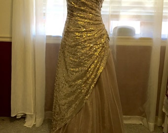 Strapless Champaign Sequin & Tulle Dress, size 5/6