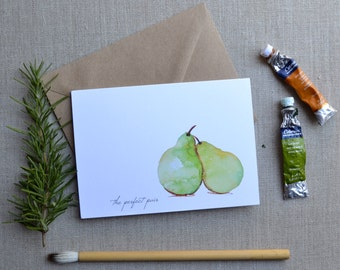 The Perfect Pear Hand-Painted Watercolor Artisan Greeting Card