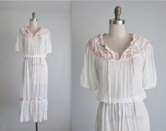 STOREWIDE SALE 70's Gauze Dress // Vintage 1970's Bohemian White Gauzy Cotton Floral Summer Festival Dress S M