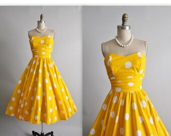 STOREWIDE SALE Vintage Polka Dot Dress // 80's does 50's Yellow Polka-dot Cotton Strapless Garden Party Full Circle Skirt Summer Dress XS