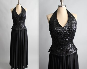 70's Sequin Halter Dress // Vintage 1970's Black Sequined Halter Goddess Evening Gown Maxi Disco Dress