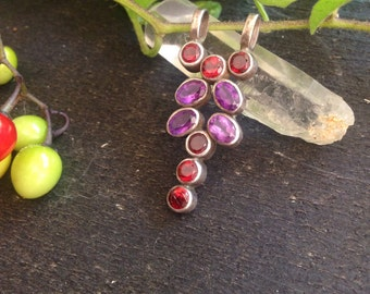 Garnet and amethyst sterling pendant