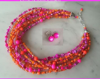 Hot pink neon orange necklace earrings set, chunky, multistrand, multi color, Czech glass, bright, colorful, multi-strand, beaded
