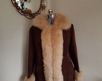 Vintage Shearling and Suede Coat 1970's Funky Hippie