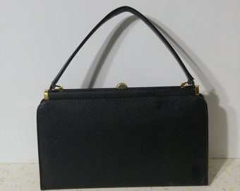 Real Leather 1950's Mod Purse Handbag Black Classic Leather Mod