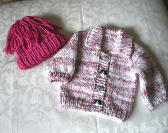 Knitted Pink Candy Sweater Set in 12 Months
