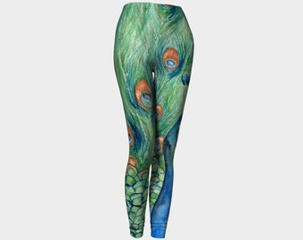 Designer Clothing - Peacock Painting - Artistic All Over Printed Leggings