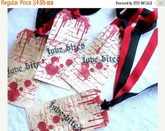 Valentines Hang Tags - Tea Dyed - Stamped - Vampire Inspired - Love Bites
