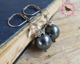 Tahitian Pearl Earrings, Swarovski Tahitian Pearl Earrings, Southsea Earrings, Boho Tahitian Pearl Earrings, by MagpieMadness for Etsy