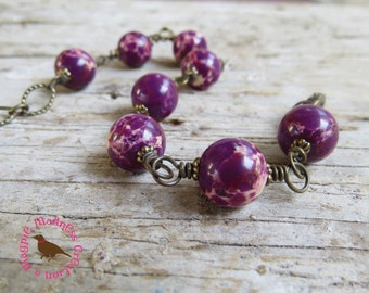 Purple Bracelet, Purple Imperial Jasper Wire Wrap Bracelet, Adjustable Purple Bracelet, Purple Aqua Terra Jasper, by MagpieMadness for Etsy