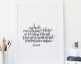 True Beauty is not of the body or of the face | Inspirational Download | Poetry Print | Typography Print | Typography Art | Poetry Download