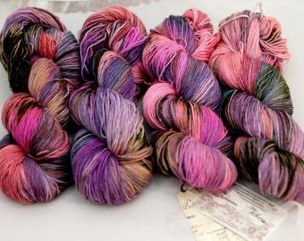 "Hand Dyed Sock Yarn superwash Celeste in ""Firebird IV"" yarn superwash merino nylon"