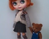 Outfit for neo Blythe and Pullip: knitted cotton cardigan, top and skirt