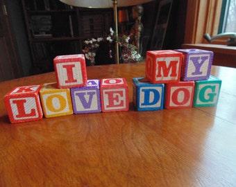 Wooden Blocks 30 pcs Childrens Toy Block Alphabet Peace Love I Love My Dog