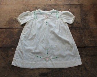 1930s Baby Girl Dress // Embroidered White Linen