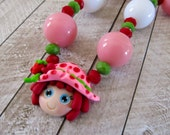 Strawberry shortcake birthday, chunky necklace, bubblegum boutique necklace, polymer clay pendant
