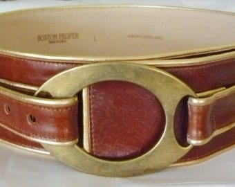 Wide Leather Belt Four Inch Oval Brass Buckle Fold Over Strap Brass Rivet New Old Stock Large