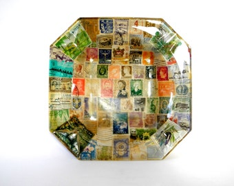Vintage Stamp Decoupage Glass Ashtray