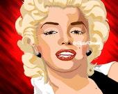 Pre-made Art Rendering Marilyn Monroe 8X10 or 11x14 Digital Art Bombshell