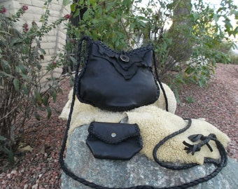 Hand Laced Black Deerskin fully lined in Taupe Leather Mama Blop Bag with Mtatching Zadie Set Shoulder Crossbody Purse Handbag Pocketbook