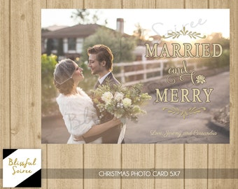 Newlywed Photo Christmas Card | Married and Merry | Married Christmas Card | Christmas Photo Card | Married Christmas Card