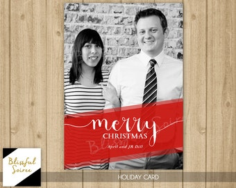 Custom Photo Christmas Card | Modern Christmas Card | Holiday Card | DIY Printable | Merry Christmas