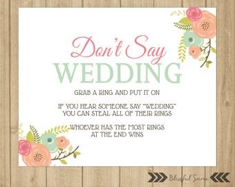 Don't Say Wedding   Ring Game   Bridal Shower Game   Wedding Shower Game   Coral and Mint   Vintage Floral   Shower Printables   BRS02