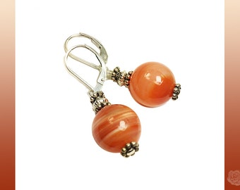 Leverback Earrings Orange Peach Striated Sardonyx Stone 12mm Rounds Fancy Pewter and Silver Spacers Sterling Silver Leverback Findings