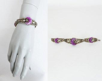 Vintage 60s Bracelet / 1960s Brass Celestial Link Bracelet with Purple Crescent Moon Cabochons