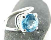 HOLIDAY SALE Solitaire Engagement Ring , Blue Topaz Sterling Silver Ring , Asymmetric Ring December Birthstone Round Faceted Blue Topaz Ring