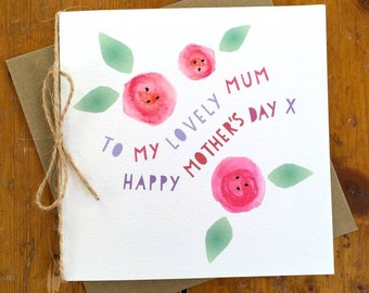 Watercolour Roses Mother's Day card Personalised Mothers Day Mum Mom Mummy Grandmother Grandma Granny Nanny