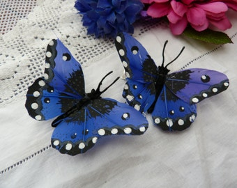 Royal blue feather butterfly hairclips