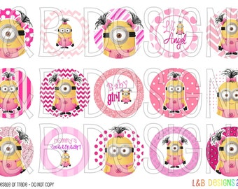 "1"" Bottle Cap Image Sheet - Girly Minions"