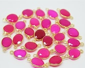 VALENTINE SALE 55% Pink Chalcedony Oval 925 Sterling Silver Gold Vermeil Bezel Connector, 17mm, 4 pcs, SKU/S