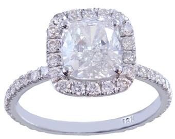 GIA H-VS2 18k white gold cushion cut diamond engagement ring halo 2.10ctw