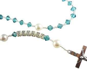 Christening Rosary/Turquoise blue / First Communion Catholic Prayer Beads, Rosary Necklace/ crystal swarovski/name Baptism Girl Boy Gift