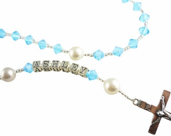 Crystal birthstone custom rosary.Personalized name initials.Swaorvski rosary/ crystal pearl rosary beads/baptism first communion christening