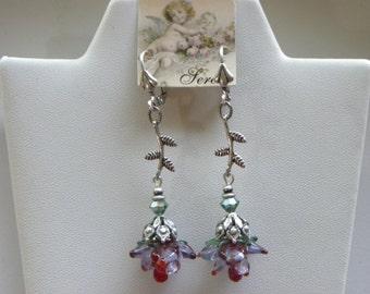 Long Stem Red Rose Bud Glass Flower Stem Earrings