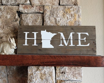 Minnesota HOME Sign, Reclaimed Wood, MN Home Sign, Minnesota artwork, Minnesota wall art, Wood Minnesota, MN wall art, Minnesota Gift,