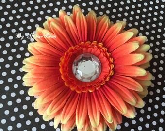 Orange Bling Gerbera Daisy Hair Clip