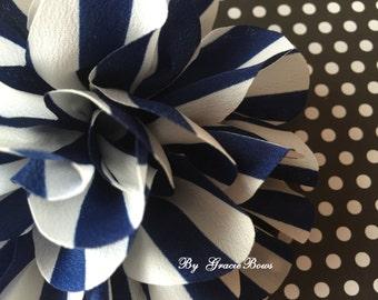 Navy Stripe Chiffon Flower Hair Clip