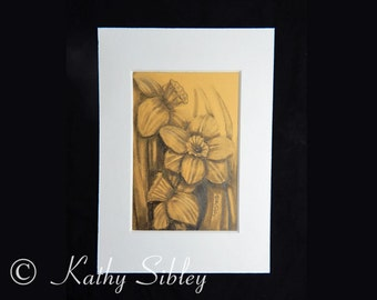 Daffodils Graphite Drawing, Original Drawing, Matted 5 x 7 inches, Graphite Drawing on Yellow Canson Paper, Yellow Daffodil Drawing