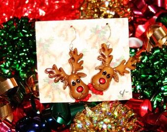 reindeer earrings Christmas earrings winter earrings holiday earrings brockus creations