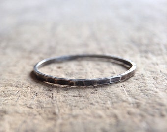 One Antique Silver Ring, Sterling Silver Ring, Skinny Ring, Vintage Silver, Stacking Ring, Thin Ring, Bohemian Ring, Bohemian Jewelry